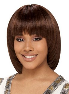 Cute Bob Hairstyle Medium Straight 100% Human Hair Wig 10 Inches