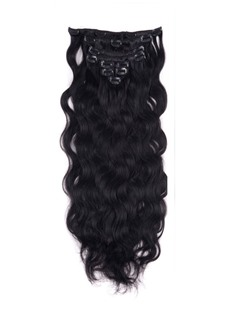 Wavy Jet Black 9PCS Clip in Remy Human Hair Extensions 100g