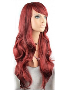 Latest Trend Elegant Glamorous Long Wavy Dark Red Wig 22 Inches
