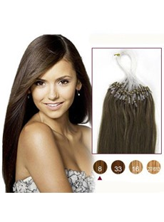 Ash Brown(#8) 100S Micro Loop Human Hair Extensions