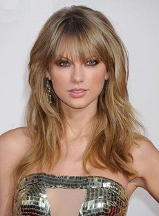 Charming Long Layered Loose Wave Celebrity Hairstyle Golden Human Hair Wig 16 Inches
