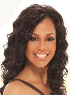 Natural Loose Deep Wavy Hairstyle 16 Inches Dark Brown Perfect Lace Wig