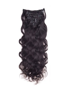 Wavy Natural Black 9PCS Clip in Remy Human Hair Extensions 100g