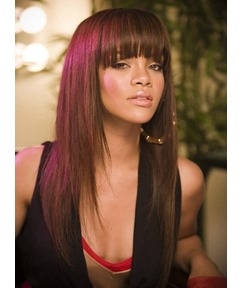 Rihanna Hairstyle Top Quality Cutom Synthetic Wig 20 Inches Brown Silky Straight