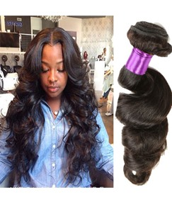 Black Women Brazilian Human Hair Natural Loose Wave Human Hair Extensions Hair Weave 1pc