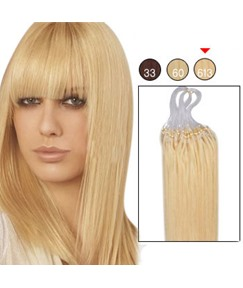 100s 1g/s Micro Loop Ring Human Hair Extensions (#613 Lightest Blonde)