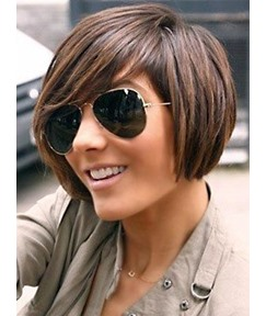 Short Bob Human Hair Wig Mixed Color for Black Women 8 Inches