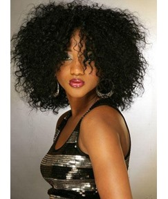 100% Human Hair Trendy Super Afo Cut Bob Hairstyle Medium Curly Black Lace Wig 14 Inches
