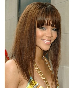 Glossy Lovely Long Straight Rihanna 100% Real Human Hair Wig 16 Inches