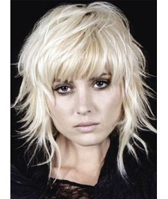 Top Quality Medium Choppy Layered Cool Straight Natural Synthetic Hair Wig 12 Inches