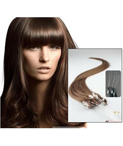 Wavy Chestnut Brown (#6) 100S Human Hair Micro Loop Ring Hair Extensions