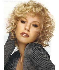 Fascinating Fluffy Short Curly Blonde Synthetic Capless Hair Wigs 10 Inches