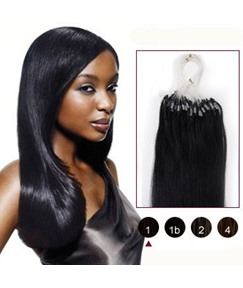 26 Jet Black(#1) 100S Micro Loop Human Hair Extensions