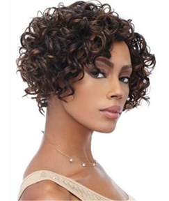 Short Bob Curly African American Women Front Lace Remy Human Hair Wig 10 Inches