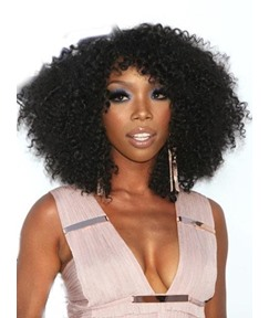 Exquisite Charming Medium Curly Black Full Lace Wig 100% Human Hair 16 Inches