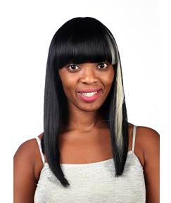 COSCOSS® Long Straight Full Bangs Capless Synthetic Hair Wig 20 Inches