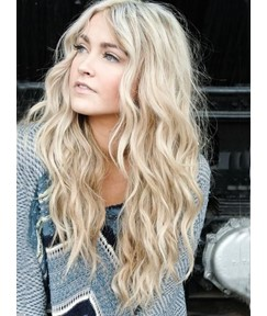Best Quality Elegant Long Wavy Blonde Front Lace Cheap Wigs 22 Inches