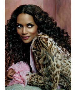 Halle Berry Silky Charming long curly Lace Wig 100% Real Human Hair 24 Inches