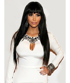 Kim Kardashian Custom Bangs Hairstyle Long Straight 24 Inches Shiny Black Wig