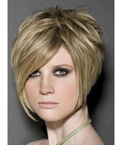 New Hairstyle Top Quality Natural Soft Short Straight Layered Light Blonde Bob Wig 8 Inches