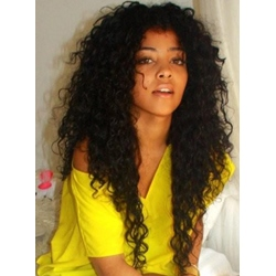 100% Brazilian Hair Lace Wig 24 Inches Curly Black Hair Top Quality