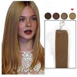 Straight Ash Brown 100S Remy Human Hair Micro Loop Ring Hair Extensions
