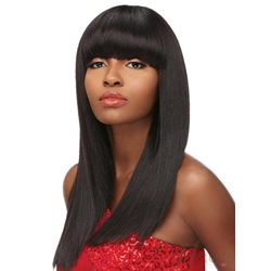Natural Black Long Straight With Full Bangs Synthetic Hair 18 Inches