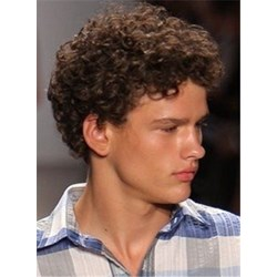 Classical Short Curly Hairstyle for Men Full Lace Wig 100% Human Hair