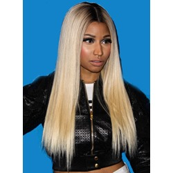 Custom Nicki Minaj Hairstyle 22 Inches Blonde with Black Roots 100% Human Hair Full Lace Wig