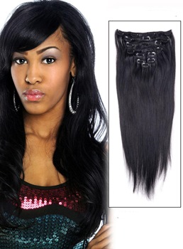 Jet Black(#1) 9 Piece Silky Straight Clip In Indian Remy Human Hair Extension