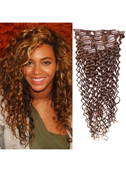 Beyonce Frisur Super charmant Clip in Hair Extension 100 % Echthaar für vollen Kopf