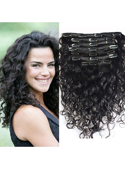 Sweet Bob Hairstyle Deep Curly Human Hair 7 Pcs Clip In Hair Extensions