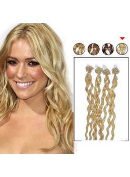 100 s Mikro Loop Ring Echthaar Extensions lockig (hellste blond #613)