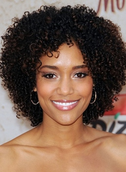 New Fashion Afro Bob Hairstyle Short Kinky Curly Lace Wig 100% Human Hair 16 Inches