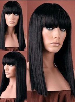Latest Retro Trend Lovely Medium Straight Black Wig 16 Inches