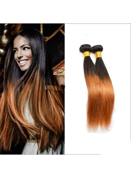 Silky Straight 100% Human Hair Ombre Hair 1B/30 1PC