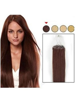 Straight Dark Auburn (#33) 100S Remy Human Hair Micro Loop Ring Hair Extensions
