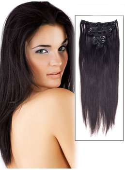 Straight Natural Black 7PCS Clip in Human Hair Extensions Real Human Hair