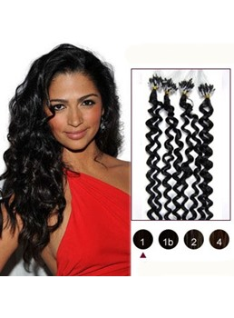Jet black(#01) 50er Jahre Micro Loop Curly Human Hair Extensions