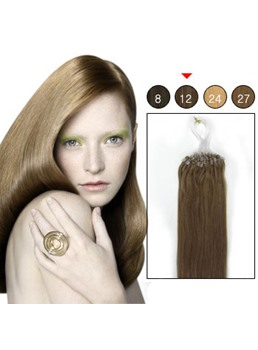 100s Micro Loop Ring Remy Hair Extensions (#12 Light Golden Brown)