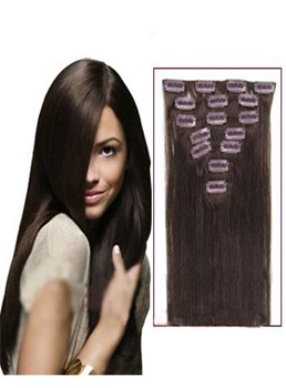 Dark Brown 7pcs Clip In Remy Human Hair Extensions 100g