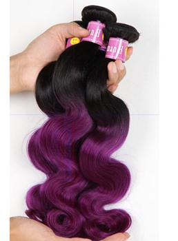 1B Purple Omber Human Hair Body Wave Weave 1 PC