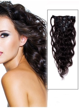 Remy Human Hair Extension Wavy Dark Brown 7PCS Clip in Remy Human Hair Extensions