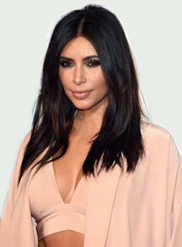 Attractive Sexy Long Straight Kim Kardashian Hairstyle Synthetic Lace Front Wigs 18 Inches