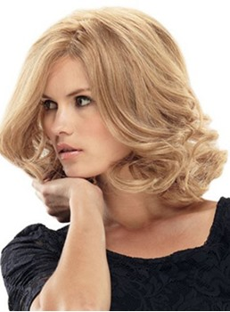 Elegant Medium Curly Light Blonde Synthetic 12 Inches Lace Wig