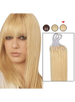 100 s 1g/s Mikro Loop Ring Echthaar-Extensions (hellste blond #613)