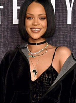 Rihanna Medium Straight Bob Lace Front Synthetic Hair Wig 12 Inches