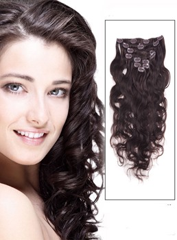 Wavy Dark Brown 7PCS Clip in Remy Human Hair Extensions