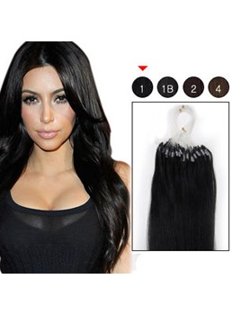 100s Indian Micro Loop Ring Remy Hair Extensions (#1 Jet Black)