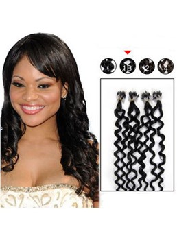 Natural Curly Black (#1) 100S Human Hair Micro Loop Ring Hair Extensions